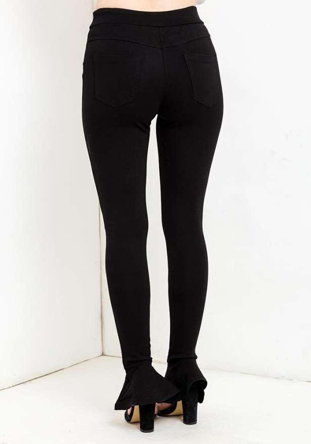 Flare Ankle Leggings In Black