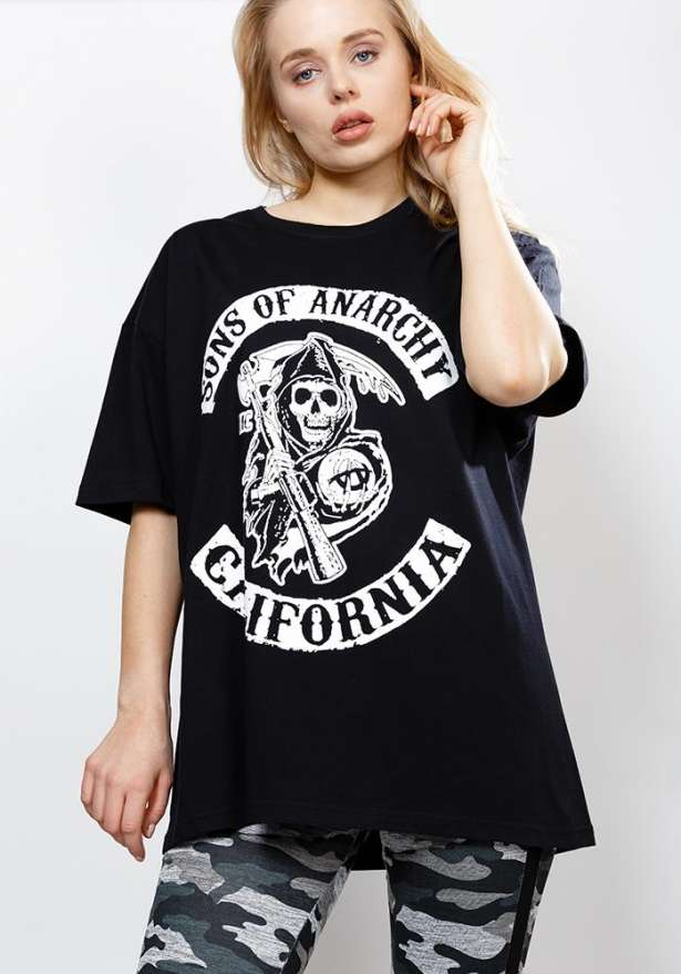 Sons Of Anarchy Oversize Tee In Black