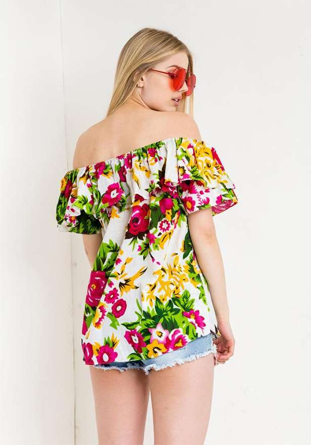 Off Shoulder Frill Floral Top In White