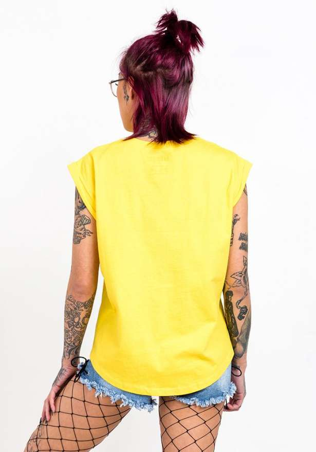 Bandidas Moto Tank With Folder Cuffs In Yellow