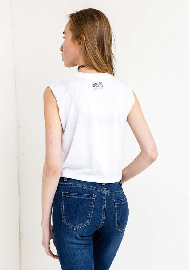 Adult-Ish Moto Crop In White