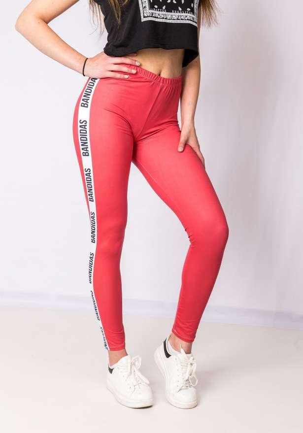 Bandidas Side Stripe Leggings In Red