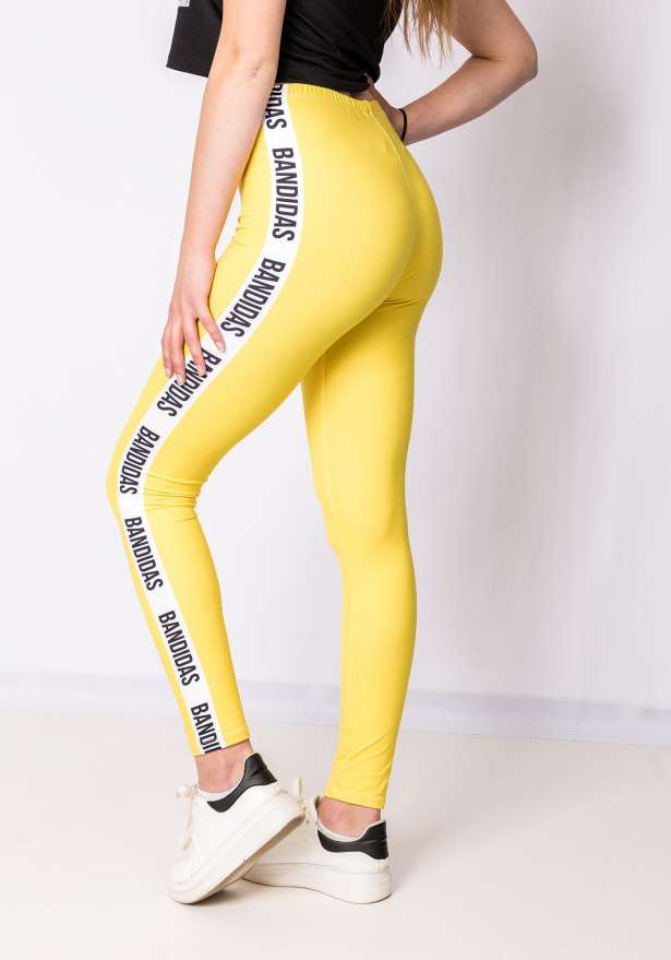 Bandidas Side Stripe Leggings In Yellow