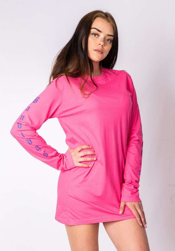 Bandidas Sleeve Detail Shirt Dress In Pink