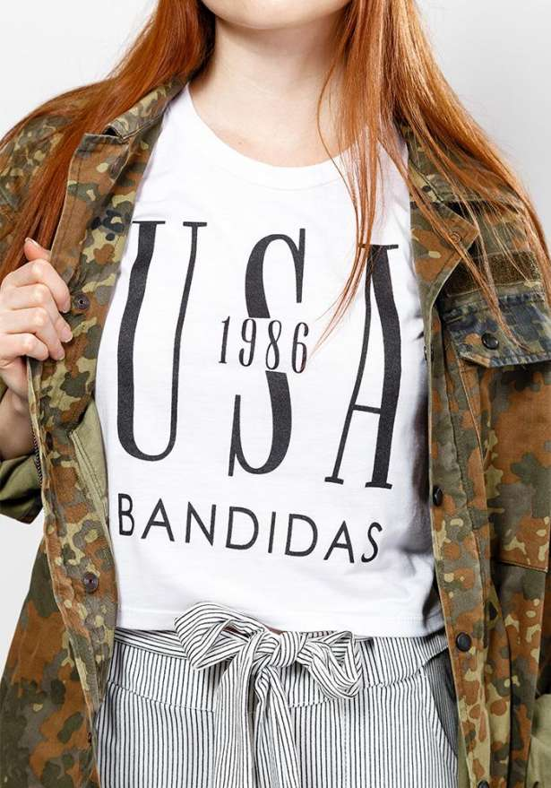 Bandidas Usa Crop Moto Tank In White
