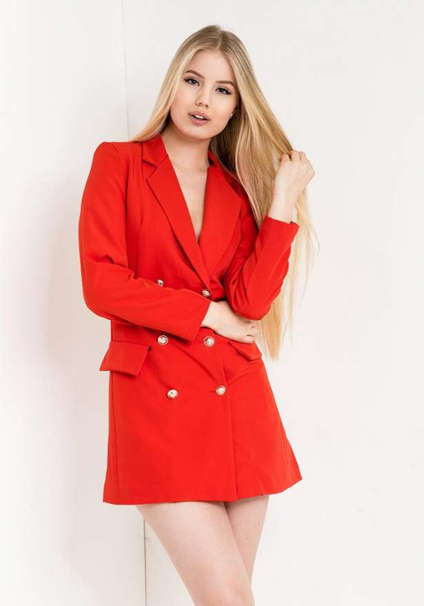 Blazer Dress With Buttons In Red
