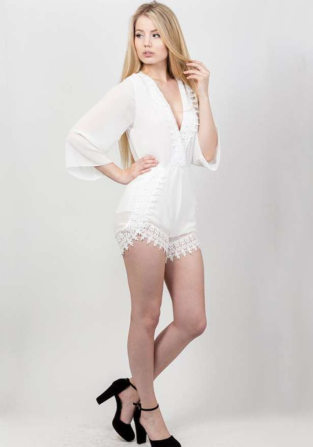 Lace Playsuit In White