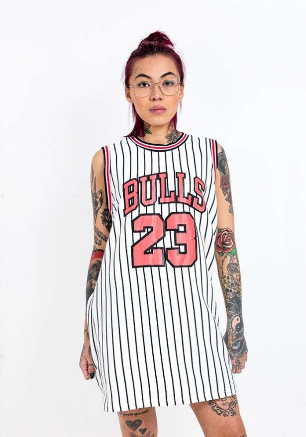 Bulls 23 Black Stripe Vest Top