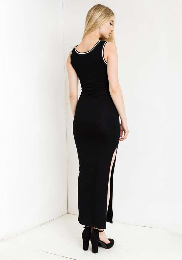 Bulls Bodycon Dress With Side Slit In Black