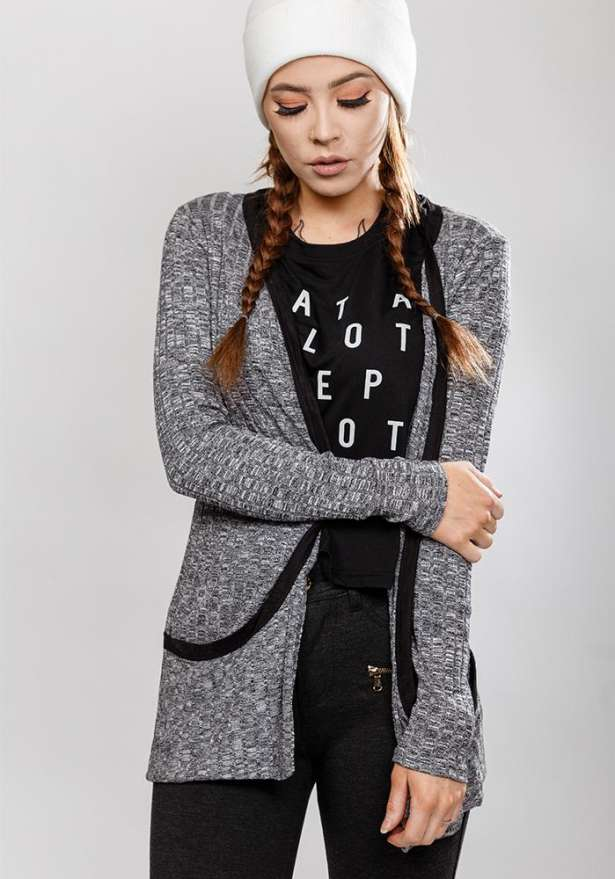 Long Sleeve Midi Cardigan With Pockets In Grey