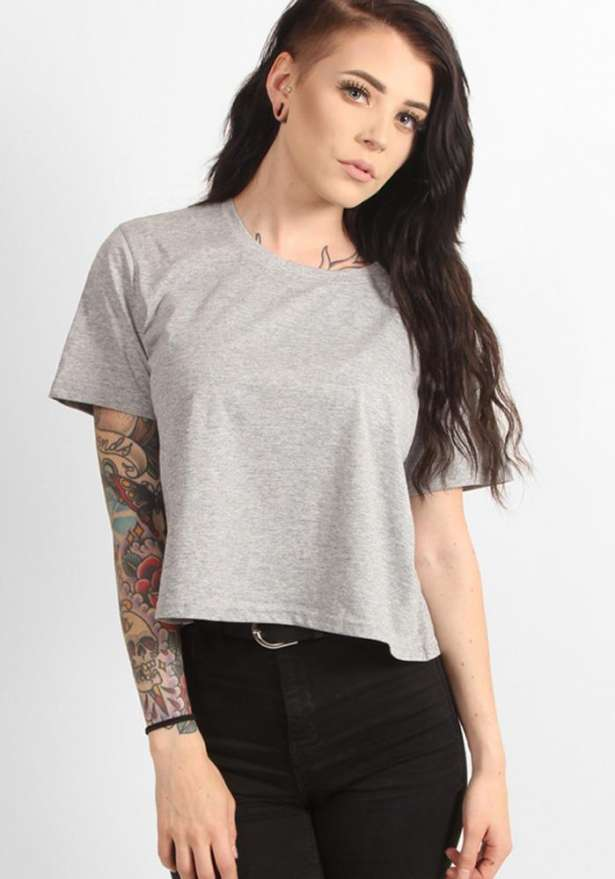 Loose Crop Top In Light Grey
