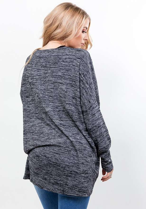 Dark Grey Midi Cardigan With Round Hem