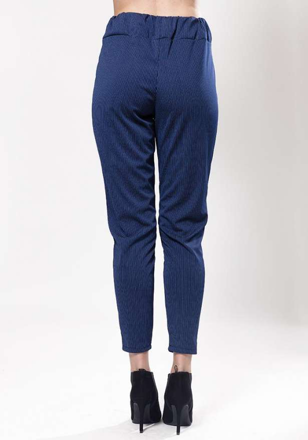 Navy Striped Tie Front Trousers