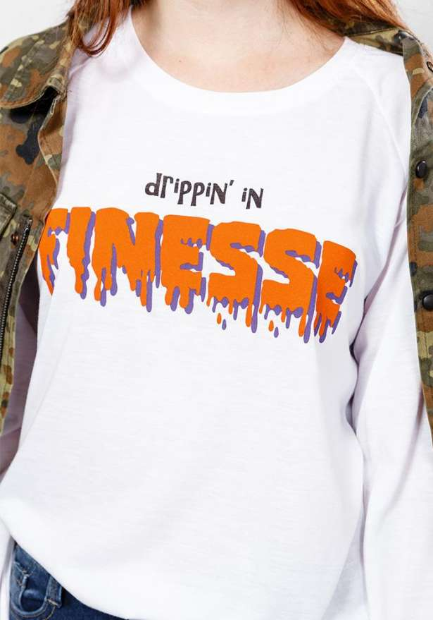Finesse Long Sleeve T-Shirt In White