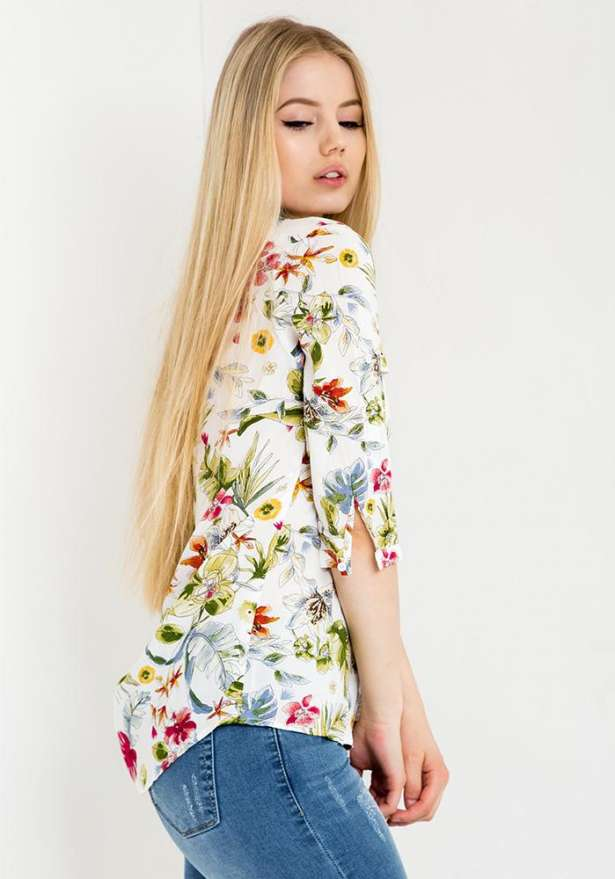 Floral Print Button-Up Shirt In White