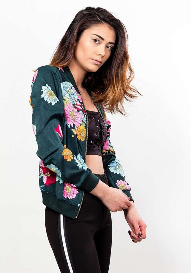 Floral Zip Jacket In Emerald