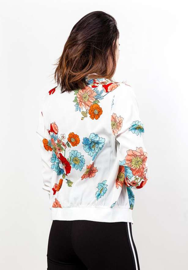 Floral Zip Jacket In White