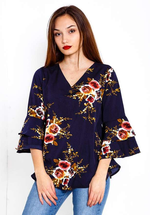 Long Sleeve Floral Shirt In Navy