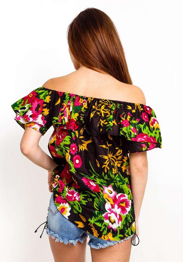 Off Shoulder Frill Floral Top In Black