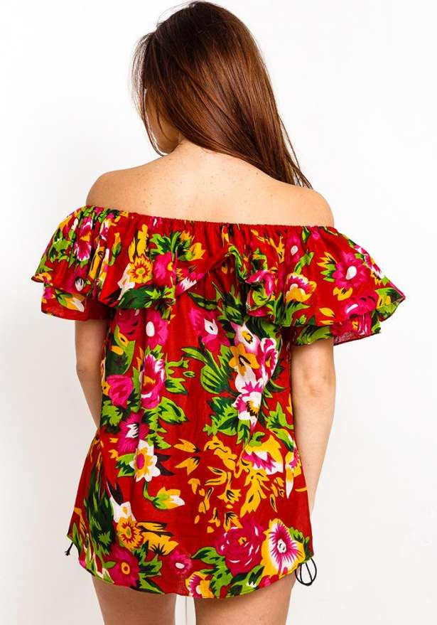 Off Shoulder Frill Floral Top In Red