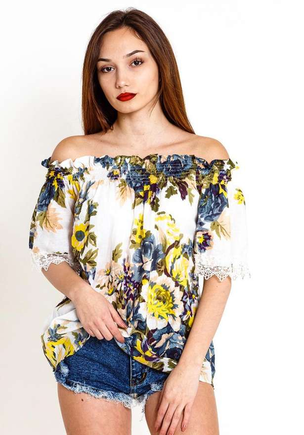Off Shoulder Floral Top Lace Detail In Purple