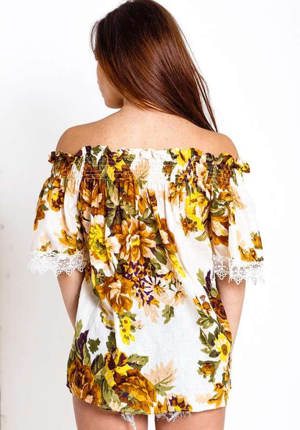 Off Shoulder Floral Top Lace Detail In Yellow