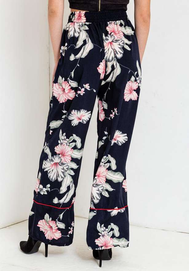 Floral Pants In Navy