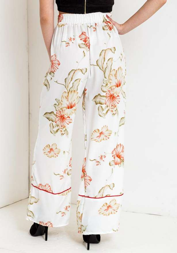 Floral Pants In White