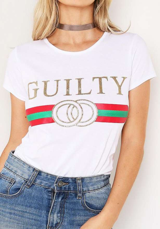 Guilty Slogan Tee In White