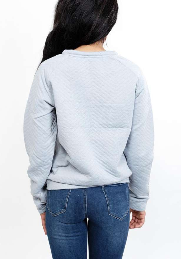 Quilted Crew Neck Sweatshirt In Light Blue