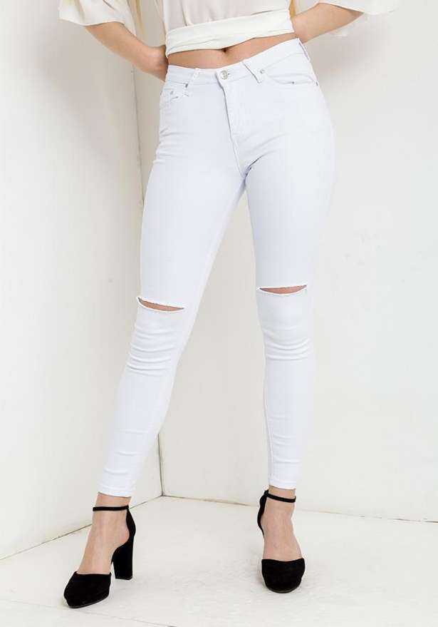 Knee Cut Detail Jeans In White