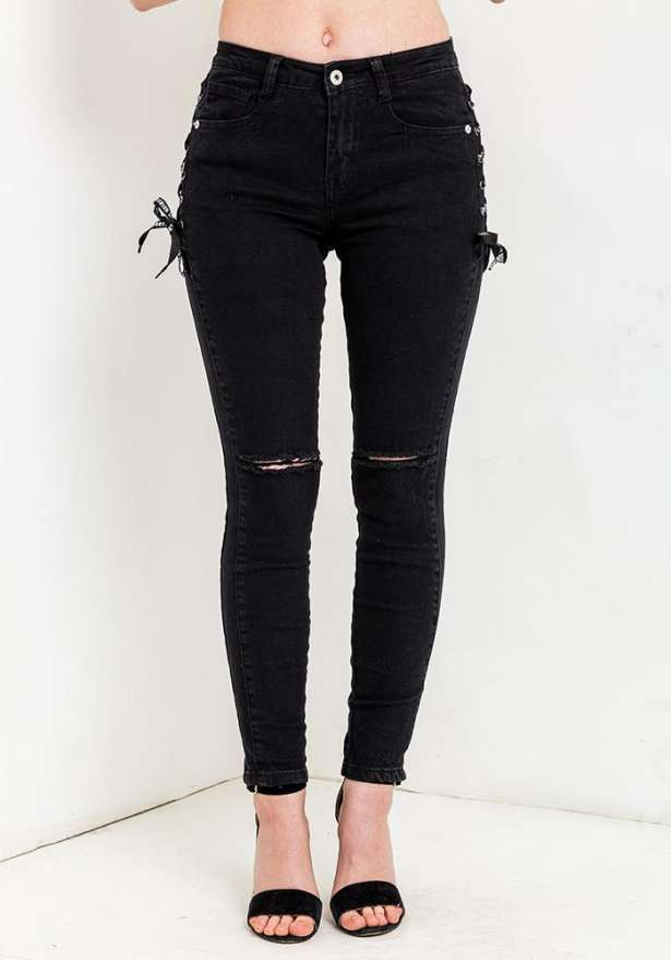 Black Knee Rip Jeans With Side Tie