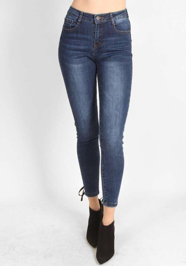 Blue High Waist Lace Detail Jeans