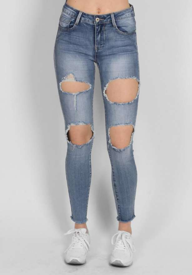 The Perfect Blue Ripped Jeans