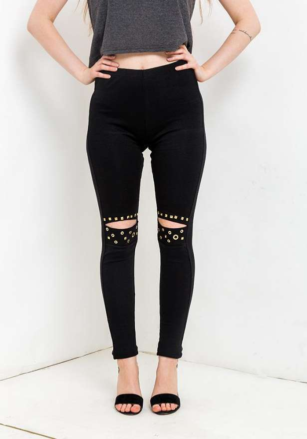 Knee Cut Metal Detail Leggings In Black