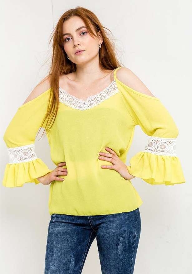 Off Shoulder Lace Detail Blouse In Yellow
