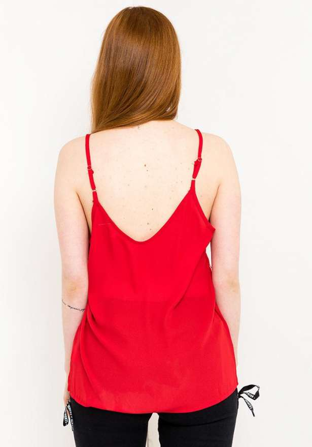 Lace Spaghetti Strap Top In Red