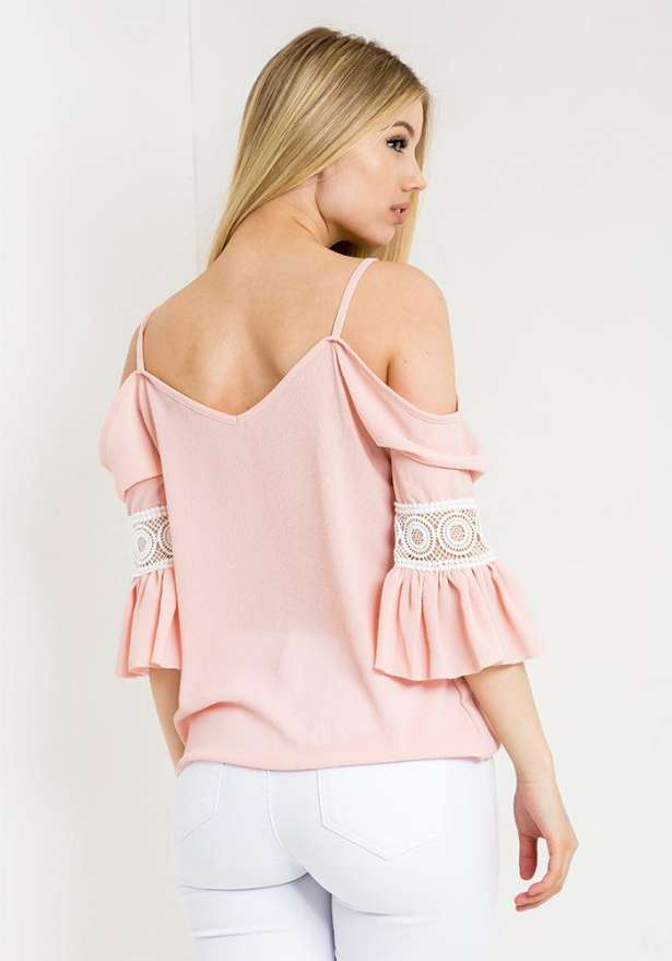 Off Shoulder Lace Detail Blouse In Pink