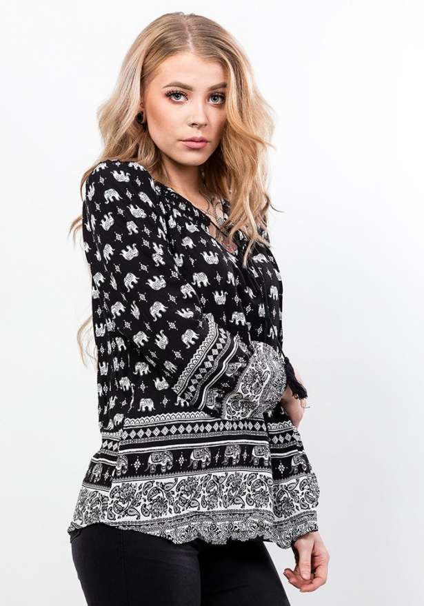 Long Sleeve Patterned Blouse In Black