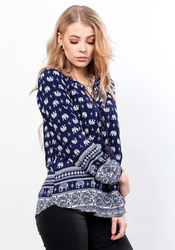 Long Sleeve Patterned Blouse In Navy