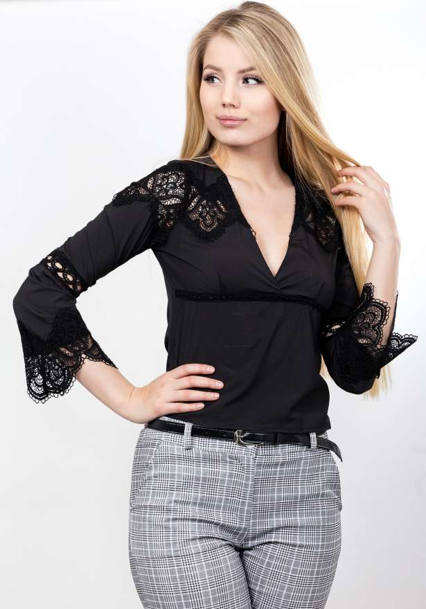 Mid Sleeve Lace Blouse In Black