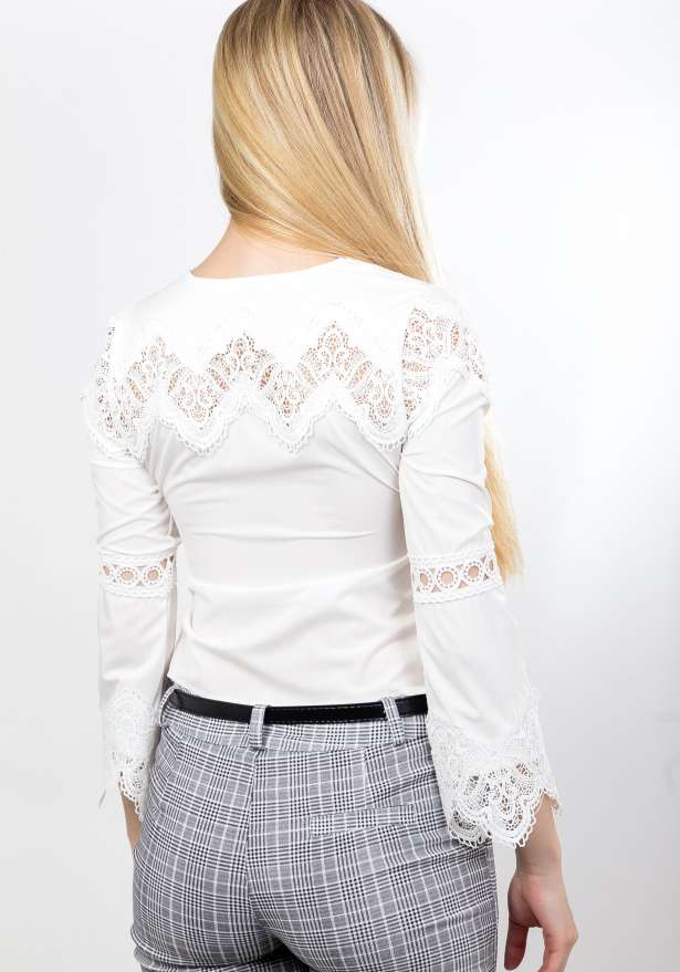 Mid Sleeve Lace Blouse In White