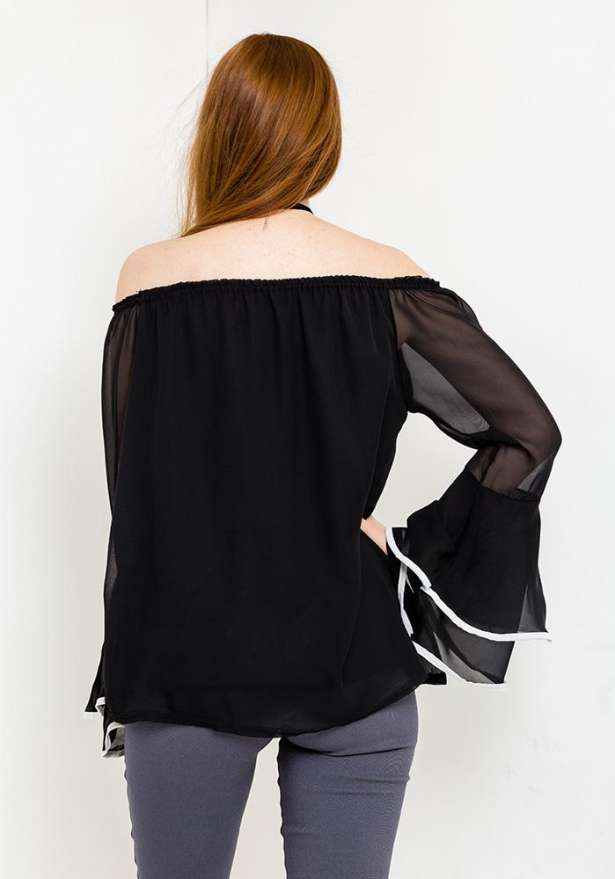 Off Shoulder Bell Sleeve Blouse In Black