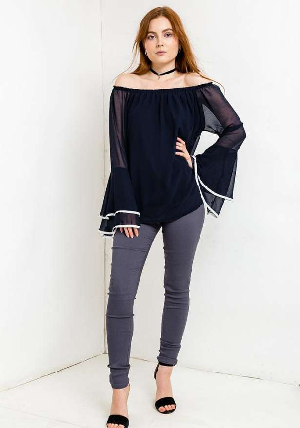 Off Shoulder Bell Sleeve Blouse In Navy