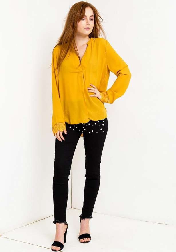 Long Sleeve V Neck Blouse In Amber