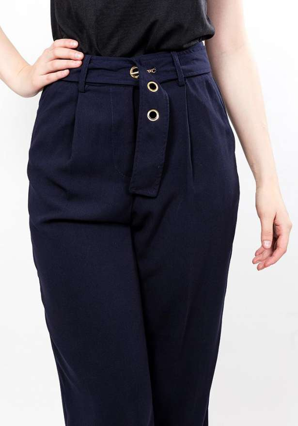 Navy Front Tie Trousers