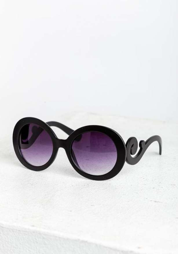 Black Retro Spiral Sunglasses Matte