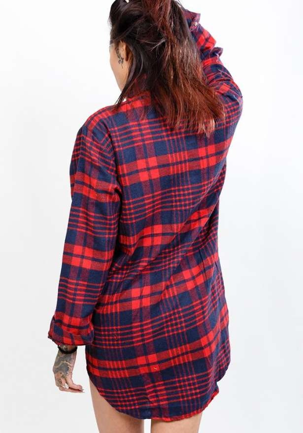 Buffalo Red And Navy Oversize Flannel Shirt
