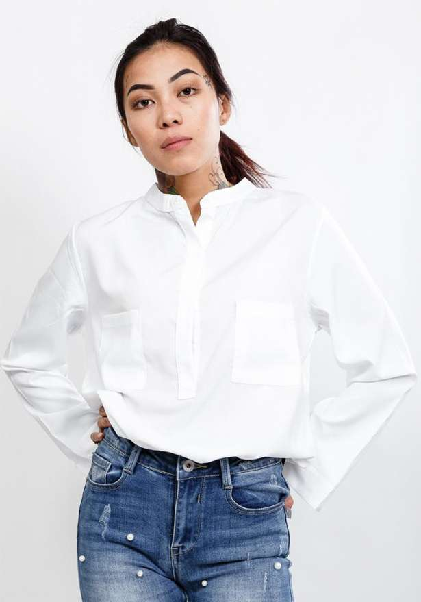 Long Sleeve Shirt With Stand Collar In White
