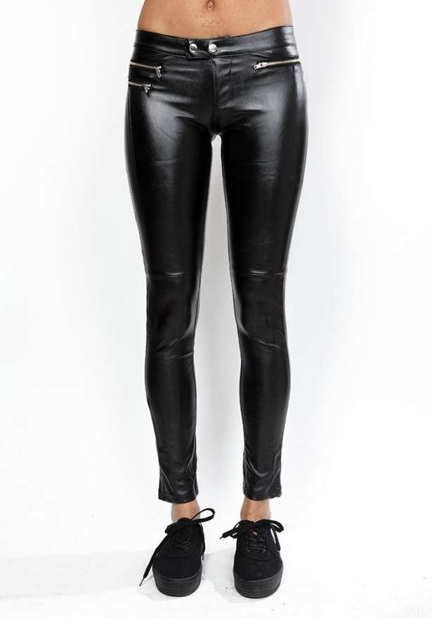 Black Petite Faux Leather Pants With Zip Detail